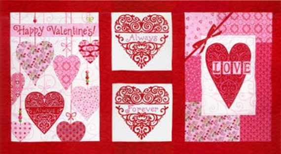Always and Forever - Deb Strain - Moda Fabrics - Red Hearts Panel - END OF BOLT - Designer Cotton Quilt Fabric - Valentines, Pink, Panel
