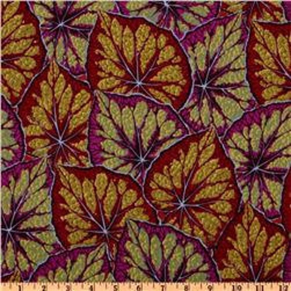 Begonia Leaves - Maroon - Philip Jacobs - Rowan Westminster - END OF BOLT - Designer Cotton Quilt Fabric - Red, Purple, Green, Gold