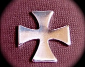 "12 - Maltese Cross Charm Blank Tumbled Pure Aluminum 1""  - 14g - QTY 12 - Heavy Weight"