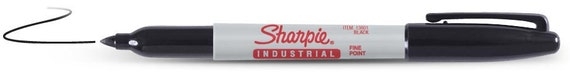 12 - Black  Industrial Sharpie Fine Point Marker - Qty 12