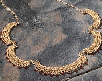 CARMEN, Necklace, gold filled, crochet, wine red swarovski crystals (OOAK)