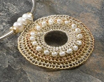 TRICOLORE, Necklace, rose and yellow gold, silver, white pearls (OOAK)