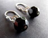 Earrings, sterling silver, black glass, faceted round, handmade in Australia by Angelene on Etsy