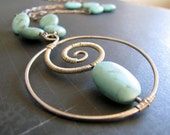 Handmade necklace in sterling silver with genuine turquoise - The Full Moon - FREE INTERNATIONAL SHIPPING
