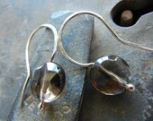 NEW Faceted Smoky Quartz Fine Silver Earrings