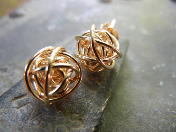 READY TO SHIP Gold Love Knot Earrings- 14k Gold Fill Classic Stud Earrings