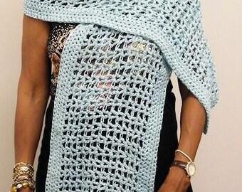 268 - Mint Green Shawl/ICE Yarns/lase cotton/mercerized cotton