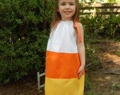 Pillowcase Dress-- Candy Corn