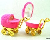 2 pink velvet baby carriage shape ring/necklace presentation boxes