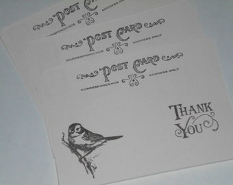 Sparrow Thank You - Flat Cards or Post Cards -  Wedding or Just Because - Set of 10
