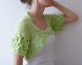 Apple Green Bolero, Shrug, Sweater, Jacket, Hand Knit, Short Sleeves -  SALE