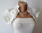 White Wedding Bolero Jacket, Bridal Shrug, Cap Sleeves, Hand Knit Bolero