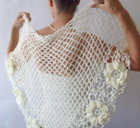 Sale crochet shawl wedding wrap triangle daisy shawl for Crochet wedding dresses for sale
