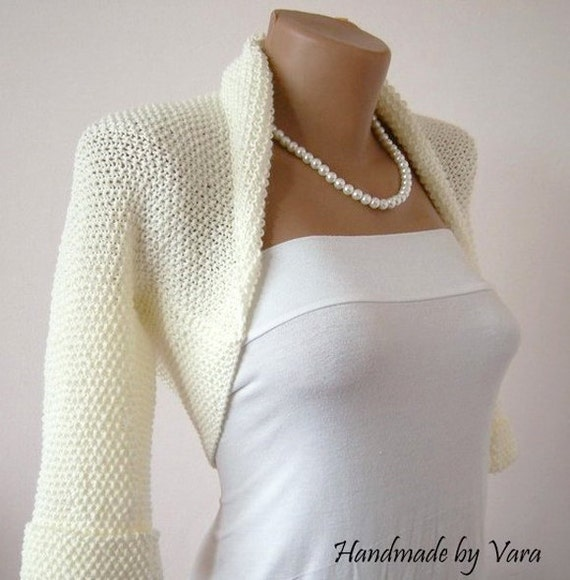 Ivory Wedding Bolero Jacket Bridal Sweater Shrug Bolero In