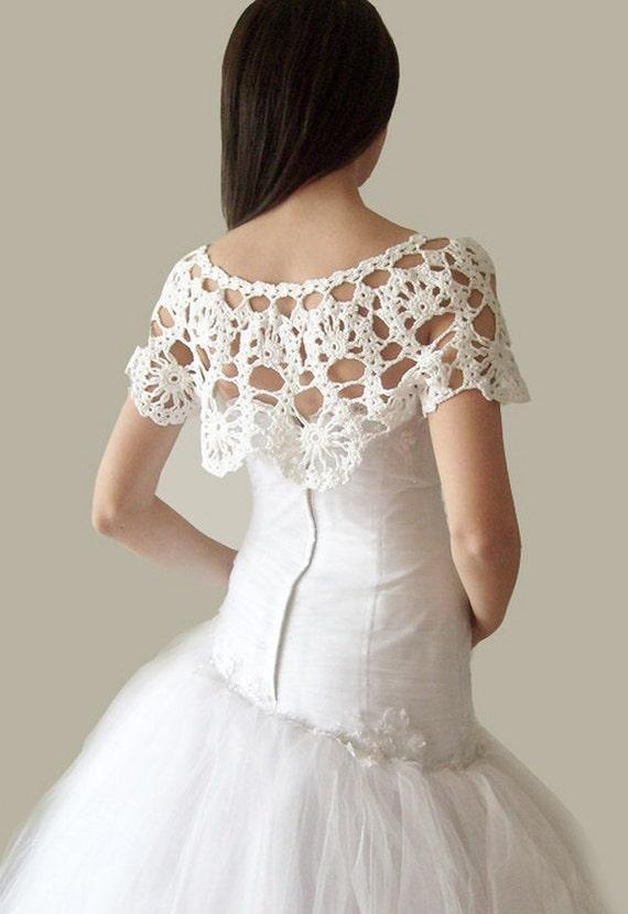 Sale crochet lace bridal shrug wrap capelet weddings ooak for Crochet wedding dresses for sale