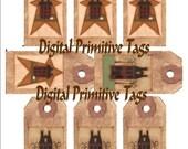 Primitive Tags Printable Sheet , Digital  , Saltbox Star