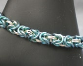 Blue Anodized Niobium and Silver Chainmaille bracelet
