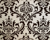 upholstery - 1 yard of damask print, brown and beige fabric