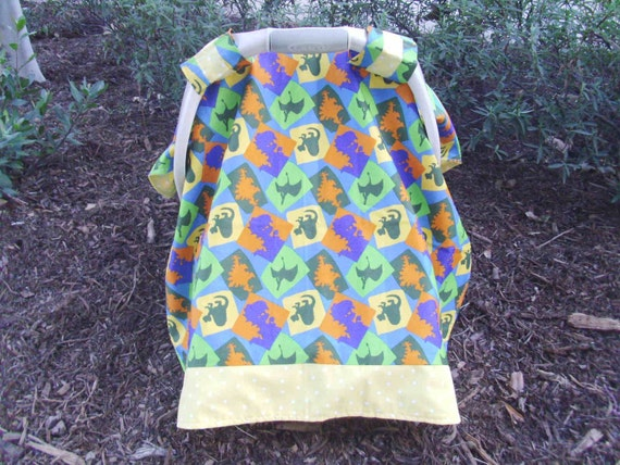 items similar to car seat cover canopy in fun dinosaur print fabric includes free shipping on etsy. Black Bedroom Furniture Sets. Home Design Ideas
