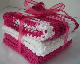 Fuchsia Varigated Dish Cloth Set