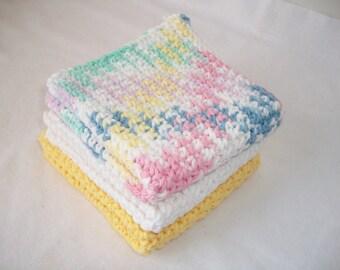 Yellow, Pink and White Dish Cloth Set