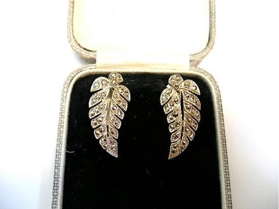 Vintage Art Deco sterling marcasite screwback earrings c1930-50's-Leaf/fern-French silver