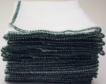 "One Dozen Eco Kitchen Unpaper Towels Forest Green Bordered  - Reusable Birds Eye Cotton Napkins - Un Paper Alternative - 11 1/2"" x 11 1/2"""