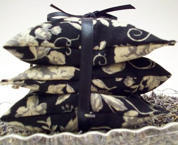Lavender Sachets - Black and Taupe Botanical - Handmade on Etsy