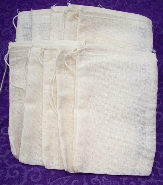 Muslin Bags 3X5 - 10 Pack - Fabric Gift Bag - Jewelry Packaging - Bead Storage - DIY Supplies