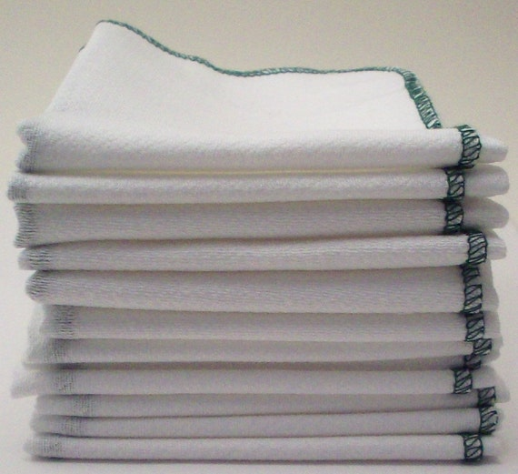 Unpaper Towels Forest Green Bordered  - Reusable Birds Eye Cotton Paper Alternative