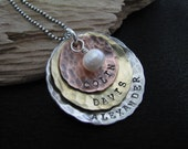 Hand stamped personalized necklace--Mother's necklace--Custom name necklace--Sarah Necklace with hammered disks