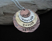 Evan Necklace- Hand stamped jewelry- Four layers of copper, silver and brass