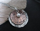 Personalized handstamped jewelry--Custom mommy necklace--Copper and silver disks with freshwater pearl--The Sandpiper Necklace