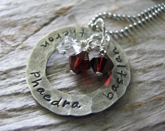 Hand stamped name necklace- Hammered silver ring with crystal birthstones- HAND STAMPED