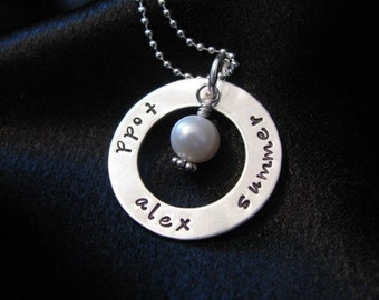 Jacob Necklace-Hand stamped jewelry- Smooth silver washer with pearl