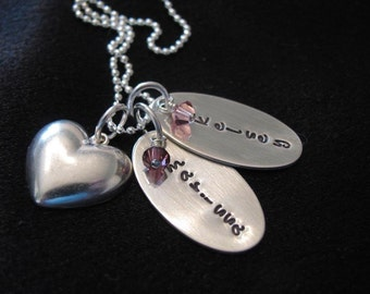 Personalized Jewely--Hand stamped necklace with names-- Custom Necklace--The Owen Necklace with oval tags and charm