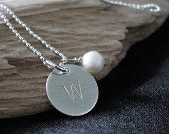Personalized hand made necklace- Wesley Necklace- Sterling silver initial necklace- HAND STAMPED