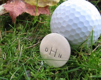 Golf Ball Marker- Perfect groomsmen gift-- HAND STAMPED and personalized golfer gift--Father's Day