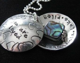 Hand stamped and personalized necklace locket--Custom Locket with names--Name necklace--The Blessings Locket