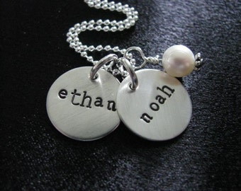Hand stamped jewelry--Personalizd necklace--The Jaden Necklace with sterling silver disks stamped with names--Freshwater pearl
