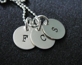 Mini Initial Tag Necklace- small circle disks with initials-HANDSTAMPED and personalized