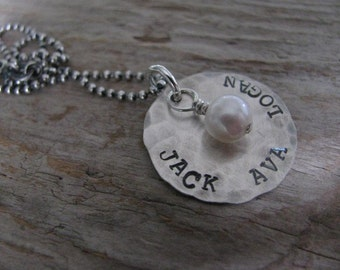 Hand stamped personalized necklace--Name necklace-Mother's Day gift--Lily Necklace on hammered disk with pearl