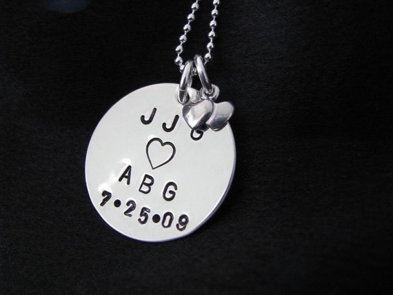 Hand stamped necklace--Anniversary Keepsake Necklace-- Perfect for a Bridal shower gift or Wedding gift