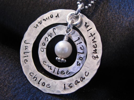 Eternity Necklace- Hand Stamped- two sterling silver hammered washers for many names