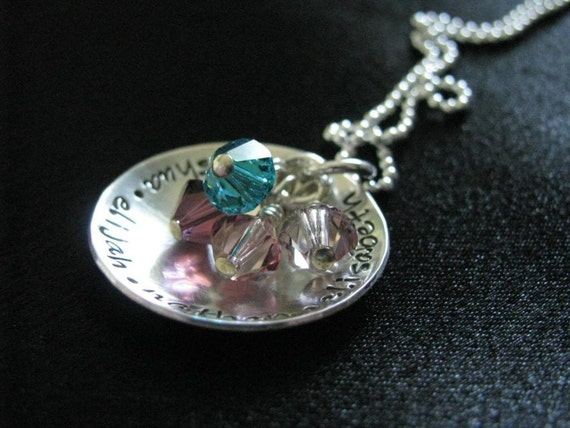 Elijah Necklace- Sterling silver domed disk with birthstones- HAND STAMPED