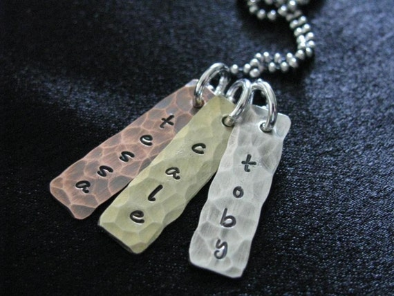 Handstamped jewelry--Personalized mommy necklace--Name necklace--Sterling silver, copper and brass hammered tags--The Tessa Necklace