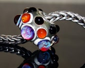 Sterling silver cored lampwork glass bead - Big hole lampwork glass bead - Fits Trollbeads - Artisan glass bead - Erratic