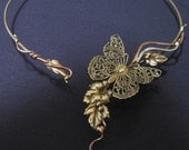 Butterfly,with leaves and copper vines choker necklace torque