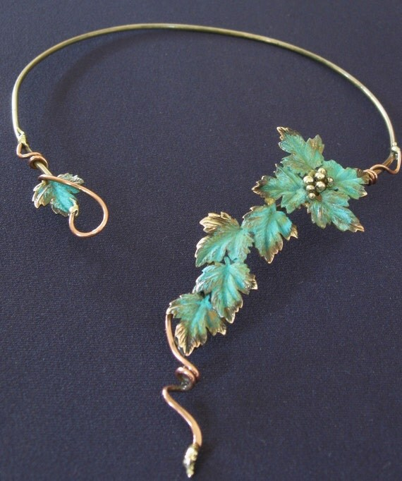 Patina green leaf and grape, berries Choker/Necklace