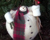 Charlie, A Primitive Folk Art Snowman Doll Woodland Holiday Christmas Shelf Sitter